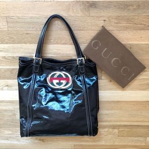 Gucci Britt Patent Leather Tote Bag